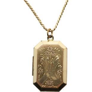 12K Yellow Gold Victorian Locket on a 12K GF Chain