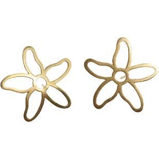 14K Yellow Gold Flower Pierced Earrings , Tous, 3.3 dwt