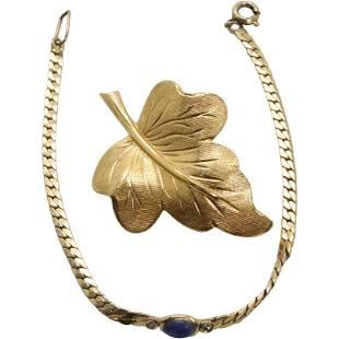 12K GF Leaf Brooch, 12K GF Bracelet Lapis and Diamonds