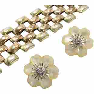 .925 Sterling & CZ Flower Earrings; Sterling Bracelet