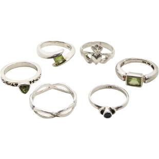 [6] Assorted .925 Sterling Silver Rings Various Sizes