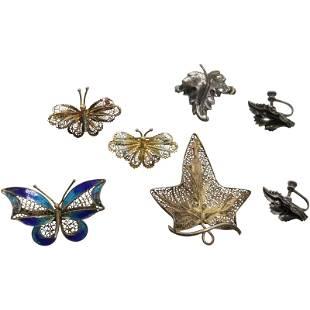 Sterling Earrings 2 Leaf Pins; 800 Silver Butterfly