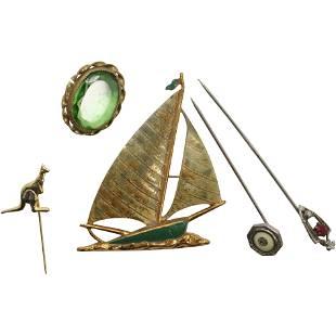 Assorted Lot: Sailboat Brooch, Kangaroo Stick Pin, etc
