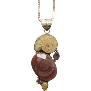 .925 Sterling Silver Quartz & Amethyst Pendant Necklace