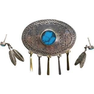 .925 Sterling Mexico Turquoise Brooch Sterling Feather