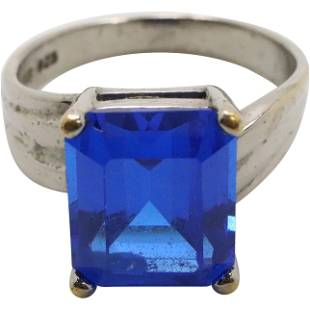.925 Sterling Silver Blue Sapphire Ring Size 9