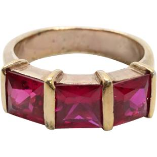 .925 Sterling Silver Vermeil Genuine Rubies Ring Size 7