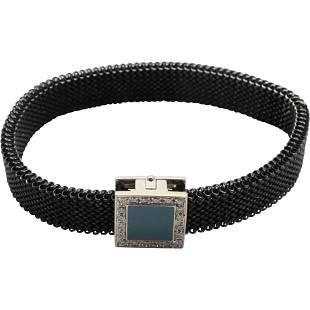 18K 750 SR with 20 Diamonds Mesh Bank Bracelet