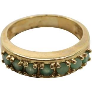 .925 Sterling Vermeil Genuine Emeralds Ring Size 7.5