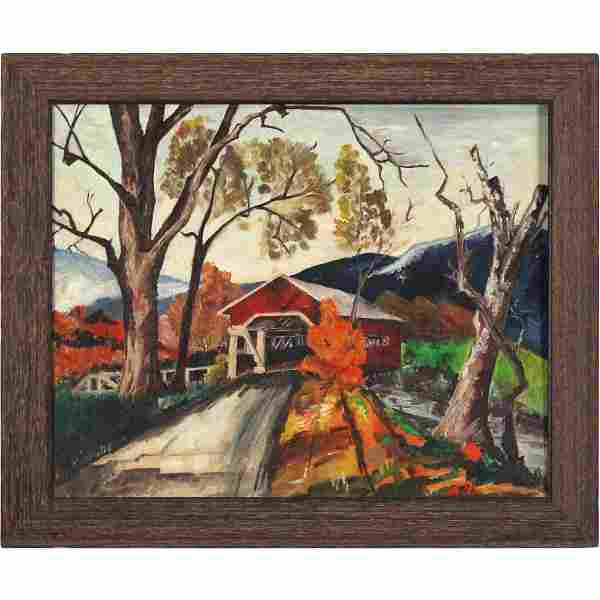 Vermont Autumn Oil Painting with Red Covered Bridge