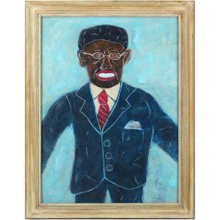African American Man in Suit Oil Painting
