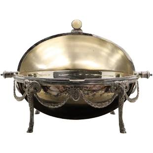 Continental English Silver Plate Roll Top Tureen