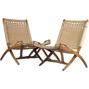 2 Hans Wegner Style Folding Rope Chairs, Seat Repair