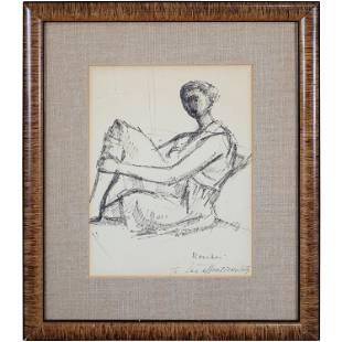 Sigmund Menkes 1896-1986, Ink Drawing Seated Woman