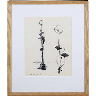 David Smith; Contemporary Modernist Ink Drawing Signed
