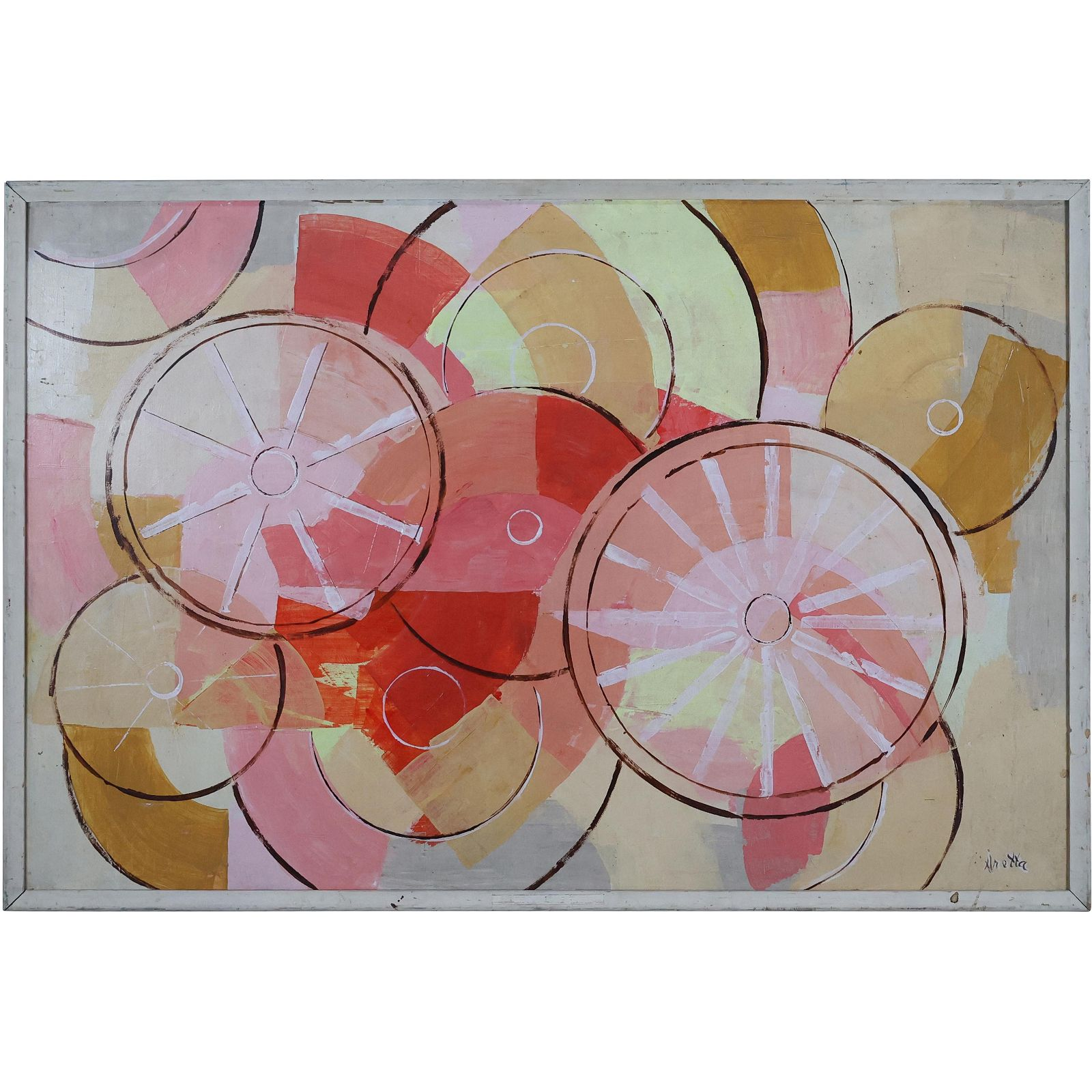 Aretta, Mid-Century Modern Circles Oil Painting