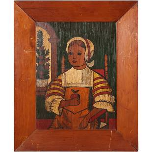 Naive Dutch Girl Holding Apple Oil Painting on Board