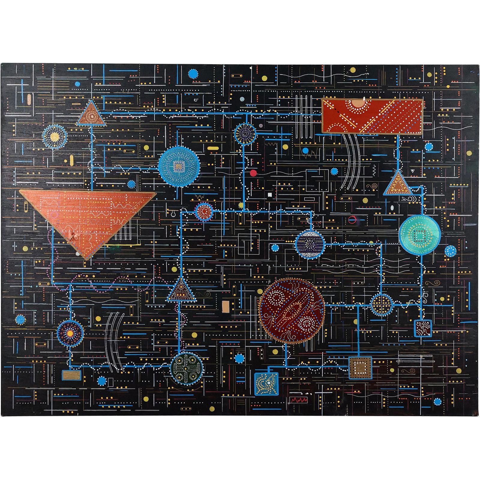 "Vintage Modernism ""Circuit Board"" Oil Painting"