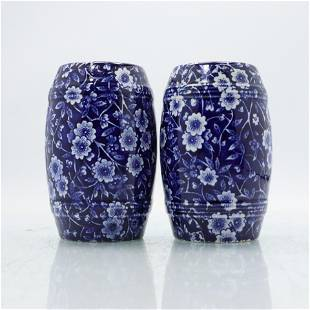 English Chintz Salt and Pepper Shakers, Blue & White