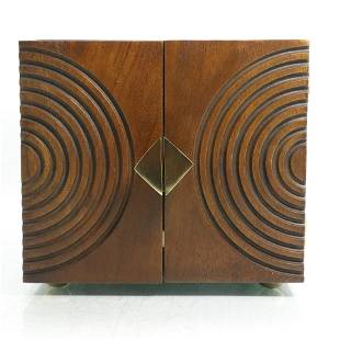 Circa 1920s Art Deco Cubical Walnut Wood Jewelry Box