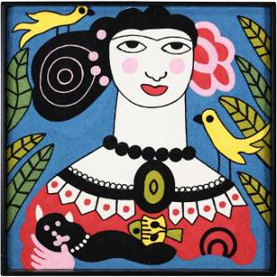 Mid-Century Modern Embroidery Woman with Birds, Cat