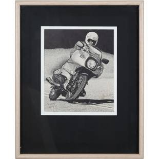 David Gray 1984, Fine Pen and Ink Drawing Motorcycle