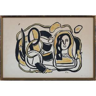 Fernand Leger, Vintage Lithograph, Initials in Plate