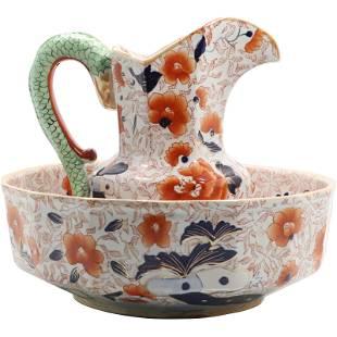 Oriental Floral Ironstone Porcelain Pitcher & Wash Bowl