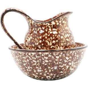 Brown Speckled Metal Agate Ware Pitcher and Bowl