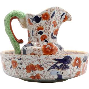 Oriental Decorated Ironstone Pitcher and Wash Bowl