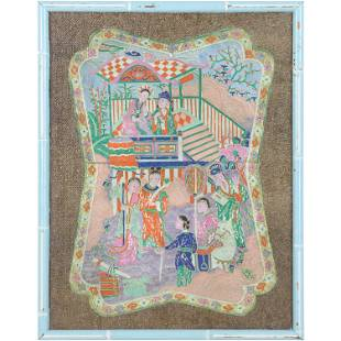 Framed Chinese Embroidery Figures, Gold Thread Border