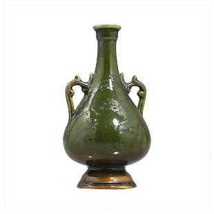 19th C. Oriental Asian Green Pottery Vase Silver Dragon