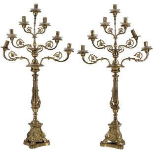 Pair 19th C. French Empire Bronze 7-Light Candelabrums