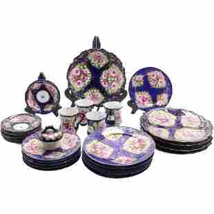 27 Pcs, Kutani Porcelain Cobalt Floral Plates and Cups