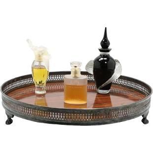 3 Perfume Bottles & Rosewood Sheffield Gallery Rim Tray