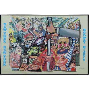 Red Grooms, New York City Subway Rider Lithograph 1983