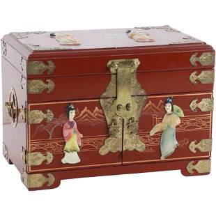 Chinese Lacquered Jewelry Box with Hard Stone Figures