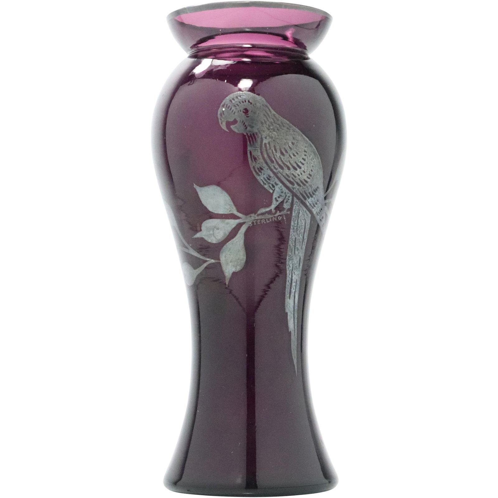 Amethyst Vase with Sterling Silver Overlay Parrot
