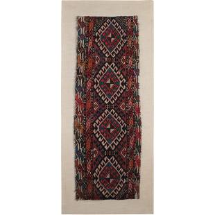 Framed Antique Caucasian Wool Rug Fragment Wall Hanging
