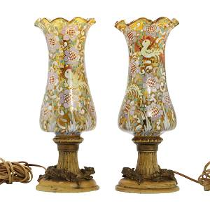 2 Unusual Enameled Glass Shade Moser Style Table Lamps