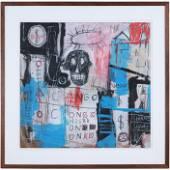 Jean Michel Basquiat 1960-1988, Mixed Media Cardboard