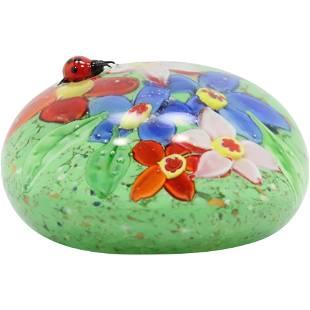 Murano Italian Art Glass Paperweight Applied Lady Bug