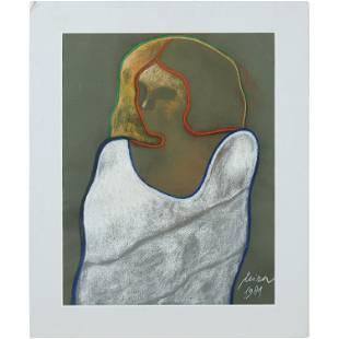 Leora 1989, Woman Silhouette Portrait Pastel Painting