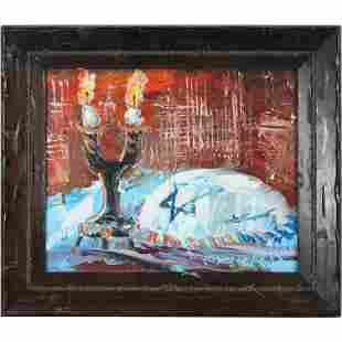 Morris Katz 1984, Jewish-American, Oil/b Judaica Candle