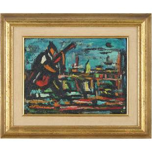 "Michael Spocek Mid-Century Modern ""Venice"" Oil Painting"