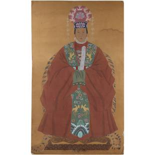 Chinese Seated Queen Royalty Large Painting