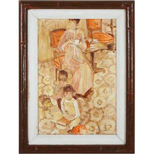 Berte, Interior Painting Woman Having Tea, Children