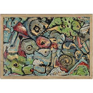 B M Herko '62 Abstract Painting on Enamel after Pollock