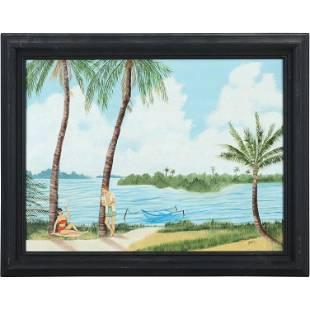 Joyce, Mid-Century Figures on Tropical Beach Painting