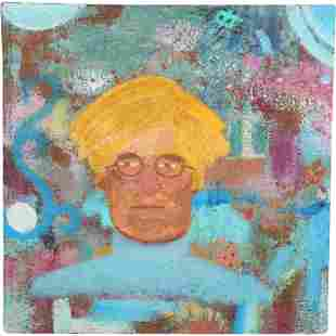 Andy Warhol, Self Portrait Oil & Sand Textured Painting